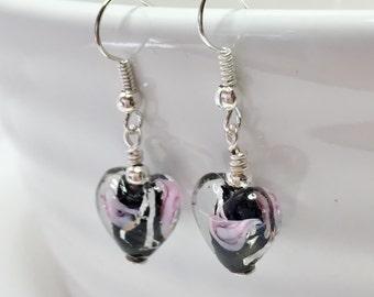 Black Heart Earrings Lampwork Glass Jewellery Heart Drop Earrings Black and Pink Earrings Glass Bead Earrings Gift for Her