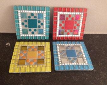 glass stained mosaic coaster, mosaic coaster set multi, coaster mosaic, glass mosaic coaster, indoor mosaic