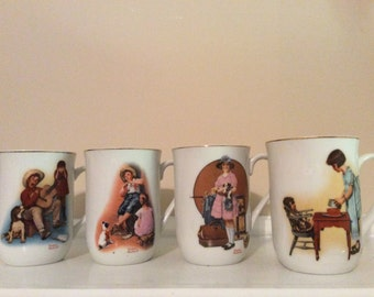 Norman Rockwell Four Mugs with his Historical Art Displays, H.M.I.