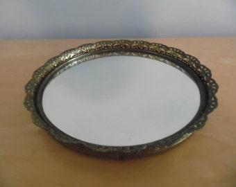 Beautiful ormolu mirrored tray with filigree edging