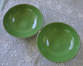 Rare HALL Salad Bowls, Set of 2 Green