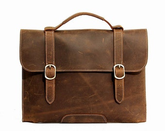 Leather Satchel Purse Messenger Bag in Vintage Brown, 516