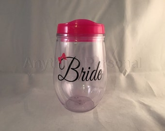 Bride Cup, Wine Tumbler, Personalized Cup, Bridal Cup, Bride Gift, Monogram Gift, Bev2Go, Beach Cup, Bachelorette Cup, Honeymoon Cup