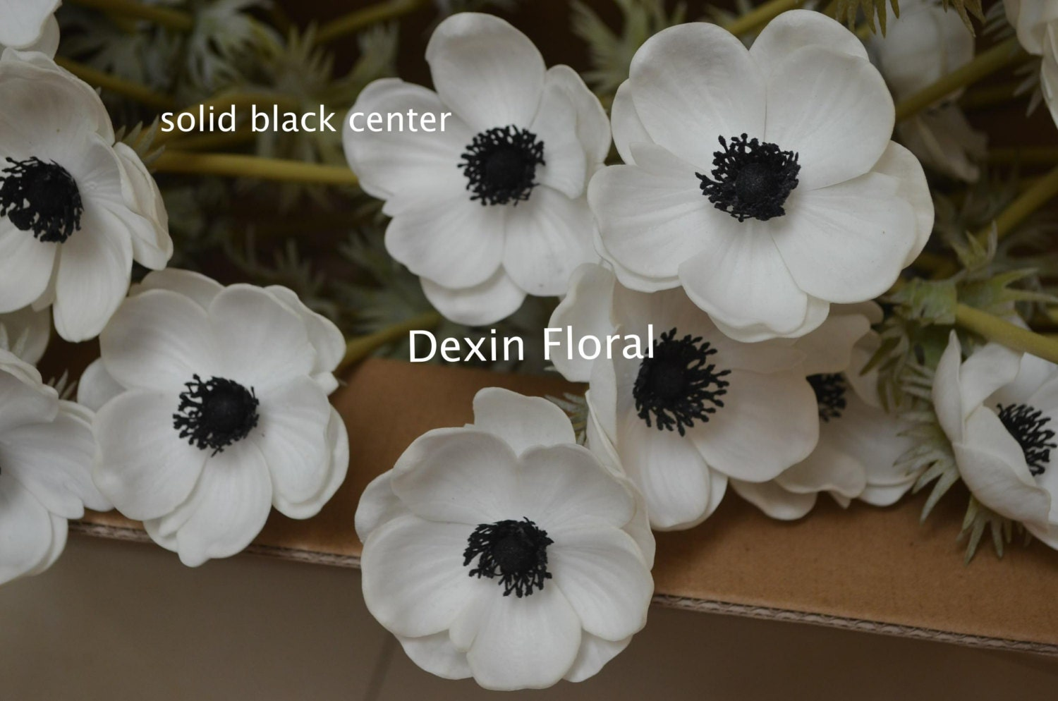 35pcs White Anemones Real Touch Flowers Single Stem for Silk