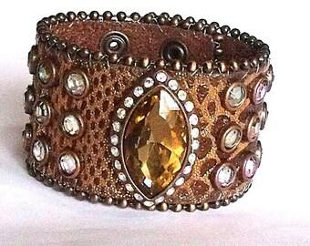 Womens Leather Cuff - Genuine Leather Wrist Cuff Embellished Sparkling Crystal Rhinestones - Boho Leather Wrist Band Bracelet