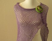Women's Poncho, Knit Poncho, Women's Wrap, Loose Knit Poncho, Knit Wrap, Boho Wrap, Knit Shawl, Cotton Poncho, Knit Scarf, Purple Wrap