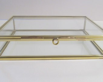 4 x 6 Glass Box, Glass and Brass Photo Box, Jewelry Box, Keepsake Box, Souvenier Box, Memory Box