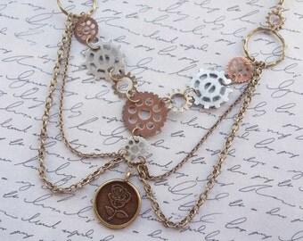 Steampunk Gear Necklace, Steampunk Necklace, Steampunk Jewelry, Cog Necklace, Bronze Necklace, Rose Necklace, Handmade Jewelry