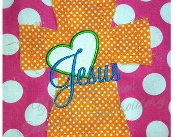 Raggy Cross Heart Jesus 5x7 Embroidery Design