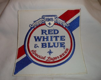 """7"""" Red White & Blue Special Lager Beer Patch"""
