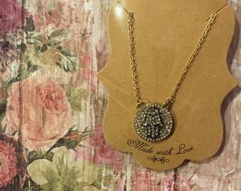 Rhinestone hamsa hand of God necklace-gold color necklace