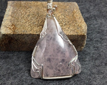Rose Quartz Pendant, Wrapped with Sterling Silver Wire