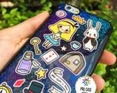 Alice in wonderland, Hand painted,cute phone cases, glittercase, sticker, iphone case, cartoon, fairytale, fairy, sumsung case, wonderland