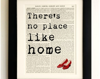 ART PRINT on old antique book page - Wizard of Oz Quote, No place like home, Vintage Wall Art Print Encyclopaedia Dictionary Page, Gift