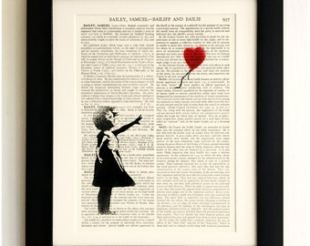 FRAMED ART PRINT on old antique book page - Banksy, Girl with Balloon, Vintage Upcycled Wall Art Print Encyclopaedia Dictionary Page