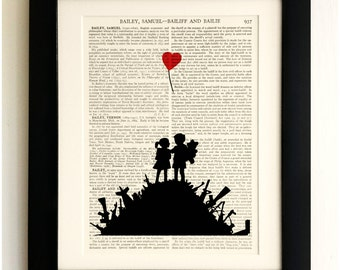 FRAMED ART PRINT on old antique book page - Banksy, Kids on Guns Hill, Vintage Upcycled Wall Art Print Encyclopaedia Dictionary Page