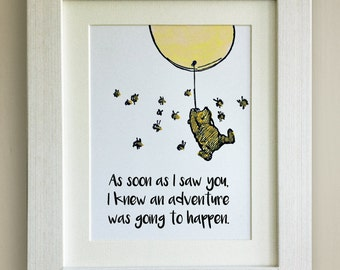 FRAMED Winnie the Pooh QUOTE PRINT, Yellow Balloon, New Baby/Birth Nursery Picture Gift, Pooh Bear, Framed or just mounted, Choice 3 frames