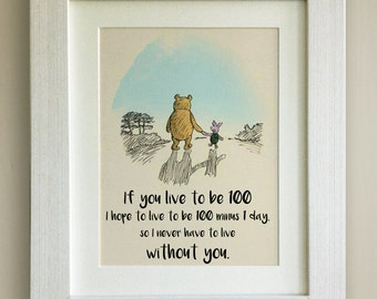 FRAMED Winnie the Pooh QUOTE PRINT, New Baby/Birth Nursery Picture Gift, Pooh Bear, Framed or just mounted, Choice of 3 frames