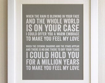FRAMED Lyrics Print - Adele, Make you feel my Love - 20 Colours options, Black/White Frame, Wedding, Anniversary, Valentines, Fab Picture