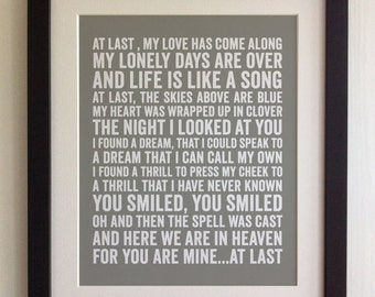 FRAMED Lyrics Print - Etta James, At Last - 20 Colours options, Black/White Frame, Wedding, Anniversary, Valentines, Fab Picture Gift