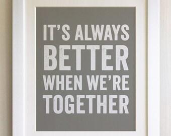 FRAMED Lyrics Print - Jack Johnson, Better Together - 20 Colours options, Black/White Frame, Wedding, Anniversary, Valentines, Picture Gift