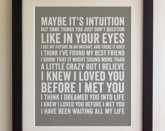 FRAMED Lyrics Print   Savage Gardens, I Knew I Loved You   20 Colours  Options
