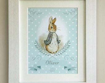 PERSONALISED Peter Rabbit Print, New Baby/Birth Nursery Picture Gift, *UNFRAMED* Choice of 4 colours, Lovely Birth or Christening Gift