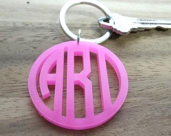 Acyrlic Circle Font Keychain