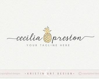 Pineapple logo design, Fruit logo, Photography logo, Modern logo, Watermark, Premade logo 476