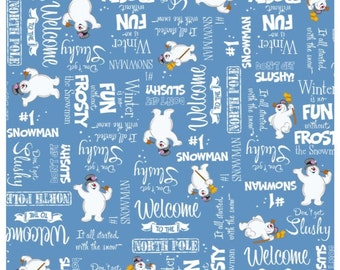 Frosty The Snowman Fabric - Fun With Frosty Fabric Yardage - Frosty Phrases - by Quilting Treasures - Fabric Sold By The Half Yard