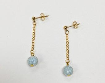 japanese candy bead earrings, simple earrings, minimalist earrings (light blue)