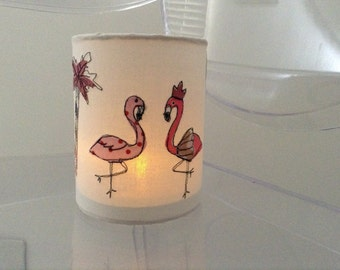 Freehand embroidered flamingo tea light holder (battery operated only)