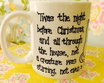 Humourous 'Twas the Night Before Christmas Mug hand painted