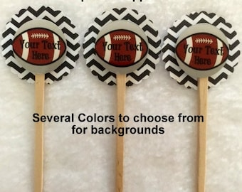 Set Of 12 Personalized Football Cupcake Toppers