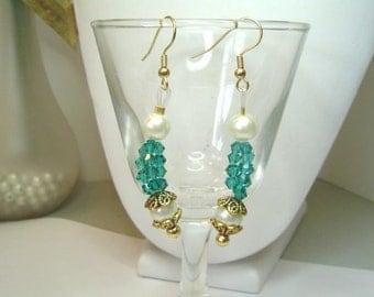 Ornate Dressy Dangle Earrings 5201 Blue Zircon Swarovski Crystals Glass Pearls Fancy Bead Caps // 955