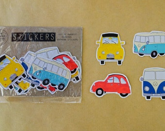 Kombi and Citroen 2CV Stickers - Hand drawn, hand cut, set of 12