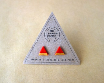 Geometric Triangle - Polymer Clay Sterling Silver Earrings
