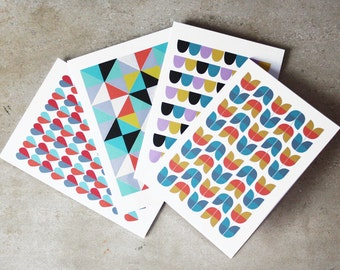 Patterned Notecards - Pack of 4 Designs