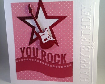 You Rock! Guitar/Star/Music Birthday card