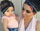Mommy and Me Navajo Turban Headwraps - Baby headband - Adult headband