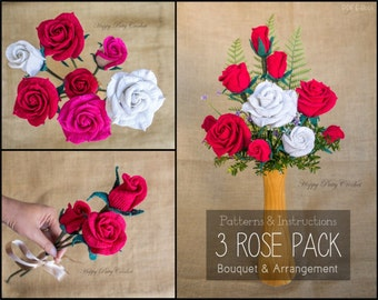 Crochet Flower PATTERNS BUNDLE - Crochet Rose Patterns for Bouquet, Decoration, Hair and Brooches  - Crochet Rose Flowers Bundle
