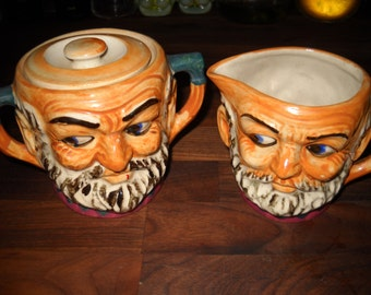 Toby Creamer and Sugar Bowl with Lid