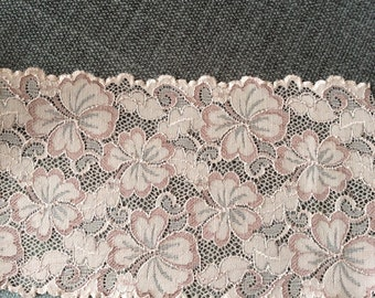 1 meter mocha chocolate color floral embroidered raschel lace scalloped stretch lace trim 13cm wide