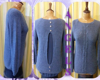 Casual sweater perforated veiled back buttoned fashion gray