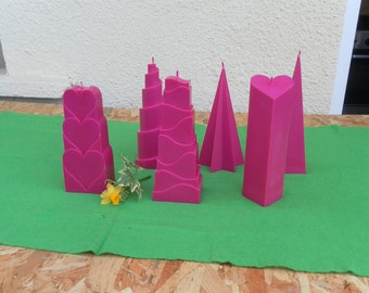 Rapeseed wax candles colored natural fuschia - various shapes
