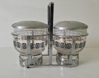 Vintage Atomic Libbey-Rock Sharpe Glass Condiment Caddy