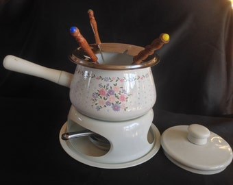 Vintage Enamel Fondue Pot with Stand in Floral Design