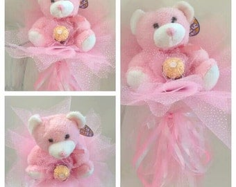 Plush Bouquet pink teddy bear gift for Valentine's Day Candy bouquet Candy Arrangement