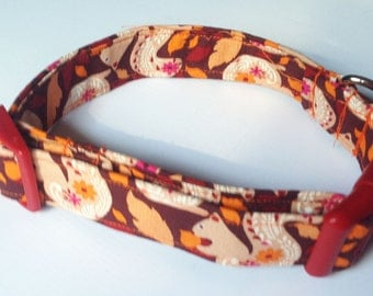 Fall Collar for Dogs and Cats with Squirrels & Leaves