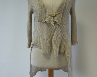 Delicate transparent natural linen cardigan, M size.